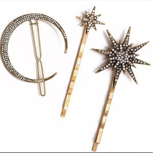 Stellar Crescent Moon & Stars Hair Clip / Pins Set
